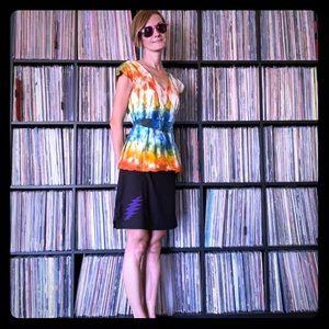 Rainbow Tie Dye Blouse Femme Bow XS boho pride
